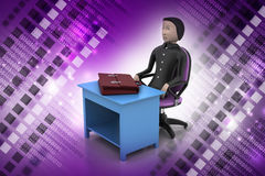 3d business man with briefcase in office. In color background Royalty Free Stock Photography