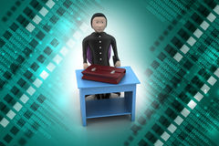 3d business man with briefcase in office. In color background Stock Image