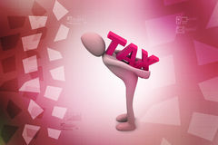 3d business man carry the tax. In color background Royalty Free Stock Photo