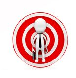 3d business man in center of target board concept. 3d rendering , front angle view Stock Images