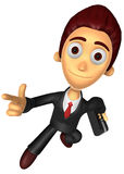 3D Business man character on powerfully Running. Work and Job Ch Royalty Free Stock Photo