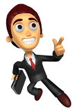 3D Business man character on powerfully Running. Work and Job Ch Stock Photo