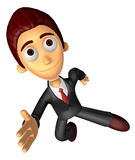 3D Business man character on powerfully Running. Work and Job Ch Royalty Free Stock Photos