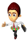 3D Business man character on Running wearing a tube. Work and Jo Royalty Free Stock Photography