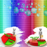 3d business man choosing between yes or no Illustration Royalty Free Stock Photos