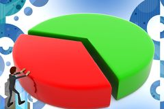 3d character moving circular pie graph graph illustration Stock Images
