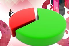 3d business character circular graph illustration Royalty Free Stock Photo