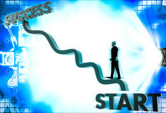 3d business man climb start to success illustration Royalty Free Stock Photo