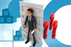 3d  character  closed door full of  doubts and question marks illustration Stock Photos