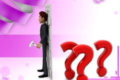 3d  character  closed door of question and doubts illustration Royalty Free Stock Photography