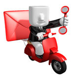3d business man delivering on red bike. 3D Square Man Series. Royalty Free Stock Photo