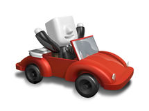 3d business man driving in the red convertible. 3D Square Man Se Stock Photo