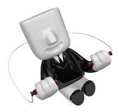 3d business man exercising with his skipping rope. 3D Square Man Stock Photo