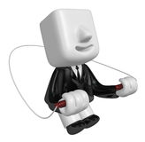 3d business man exercising with his skipping rope. 3D Square Man Royalty Free Stock Photos