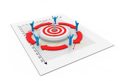 3d business man or figure standing on target Royalty Free Stock Photography