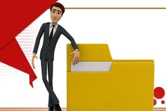 3d character presenting folder file illustration Royalty Free Stock Images
