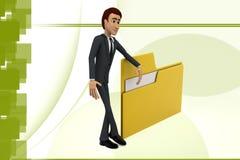 3d character presenting folder file illustration Stock Photo