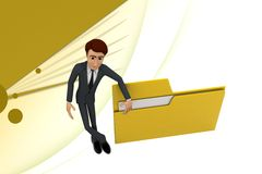3d character presenting folder file illustration Royalty Free Stock Image