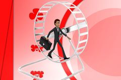 3d character hamster wheel illustration Stock Photos