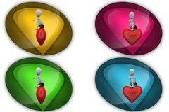 3D business Man with heart concept icon Stock Photo