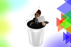 3d character hide with board inside recycle bin illustration Stock Photo