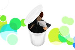 3d character hiding inside recycle bin  illustration Stock Images