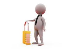 3d business man with lock concept Royalty Free Stock Photo