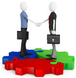 3d business man making a deal and shaking hands. 3d business man shaking hands with cogwheel on white background Stock Photos