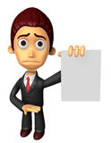 3D Business man mascot Anxious look holding a paper document. Wo Royalty Free Stock Photo