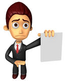 3D Business man mascot Anxious look holding a paper document. Wo Royalty Free Stock Photos