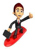 3D Business man Mascot balancing on a surfboard best gesture. Wo Stock Image