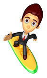 3D Business man Mascot balancing on a surfboard. Work and Job Ch Royalty Free Stock Photography