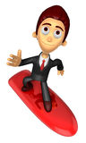 3D Business man Mascot balancing on a surfboard. Work and Job Ch Stock Photos