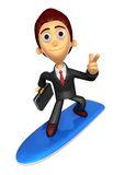 3D Business man Mascot dip surfboard ride on Pointing fingers ge Stock Photos