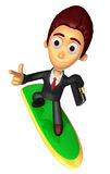 3D Business man Mascot dip surfboard ride on Pointing fingers ge Royalty Free Stock Photos