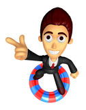 3D Business man Mascot dip tube ride on Pointing fingers gesture Royalty Free Stock Images