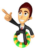 3D Business man Mascot dip tube ride on Pointing fingers gesture Stock Photography