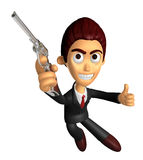 3D Business man Mascot fire an aimed shot a automatic pistol. Wo Stock Photo