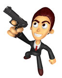 3D Business man Mascot fire an aimed shot a automatic pistol. Wo Stock Images