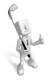 3D Business man Mascot golfer in action. 3D Square Man Series. Stock Image