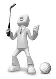 3D Business man Mascot golfer in action. 3D Square Man Series. Stock Photography