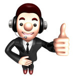 3D Business man Mascot the hand best gesture. Work and Job Chara Stock Photography