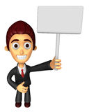 3D Business man Mascot hand is holding a Big advert board. Work Stock Image