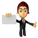 3D Business man Mascot the hand is holding a business cards. Wor Stock Photo