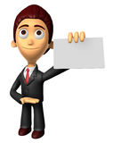 3D Business man Mascot the hand is holding a business cards. Wor Royalty Free Stock Images