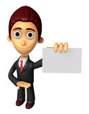 3D Business man Mascot the hand is holding a business cards. Wor Stock Photography