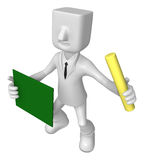 3D Business man mascot hand is holding a chalk and board. 3D Squ Stock Photography