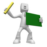 3D Business man mascot hand is holding a chalk and board. 3D Squ Stock Images