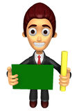 3D Business man mascot hand is holding a chalk and board. Work a Stock Images