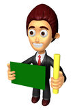 3D Business man mascot hand is holding a chalk and board. Work a Royalty Free Stock Photography
